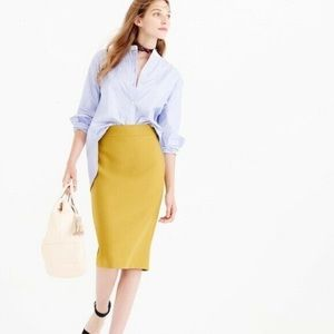 J. Crew Mustard No. 2 wool pencil skirt